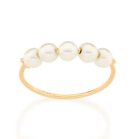 512864 anel delicado aro fino e liso composto por 5 pérolas marca rommanel loja revendedora brilho folheados