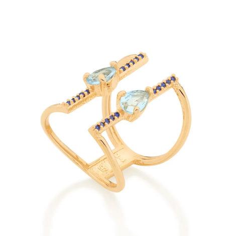 512886 anel aro duplo ajustável composto por 20 zircônias e 2 cristais gota azul marca rommanel loja revendedora brilho folheados 2