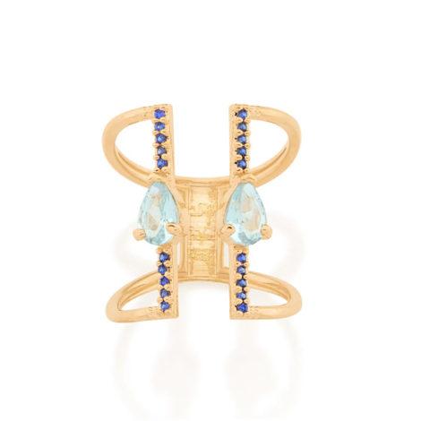 512886 anel aro duplo ajustável composto por 20 zircônias e 2 cristais gota azul marca rommanel loja revendedora brilho folheados 3