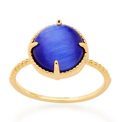 512898 anel solitário aro trabalhado pedra olho de gato azul marca rommanel loja revendedora brilho folheados