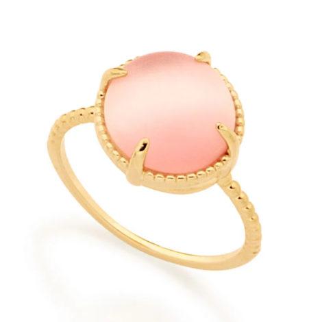 512898 anel solitário aro trabalhado pedra olho de gato rosa marca rommanel loja revendedora brilho folheados