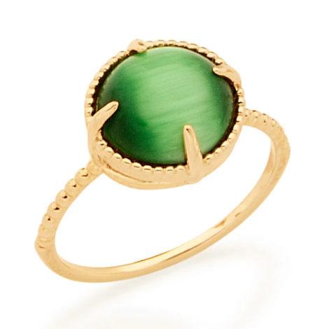 512898 anel solitário aro trabalhado pedra olho de gato verde marca rommanel loja revendedora brilho folheados