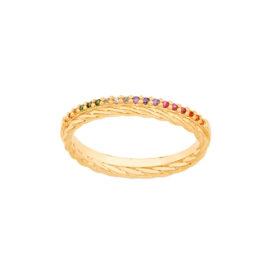 512906 anel meia alianca aro liso e corda com zirconias coloridas colecao para elas rommanel loja brilho folheados