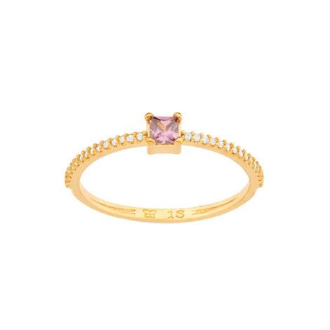 512907 anel dourado delicado zirconia carre lilas aro cravejado zirconias brancas colecao para elas rommanel loja brilho folheados
