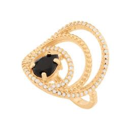 512911 anel aros vazados e cravejados com cristal gota preta colecao para elas dia das maes rommanel loja brilho folheados