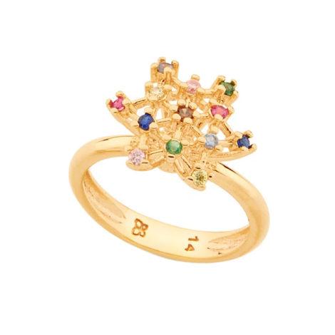 512912 anel formado por estrela geometrica com zirconias coloridas colecao para elas dia das maes rommanel loja brilho folheados