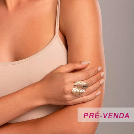 512913 maxi anel folha com detalhes vazados dourado marca rommanel loja revendedora brilho folheados foto modelo