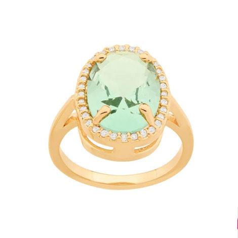 512914 anel dourado cristal oval verde solitario grande com zirconias colecao para elas rommanel loja brilho folheados