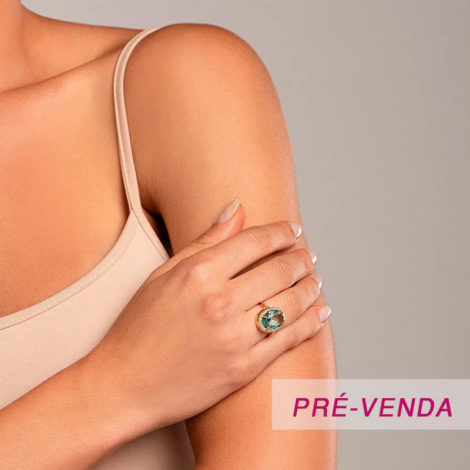 512914 anel pedra verde rodeado de zirconias dourado marca rommanel loja revendedora brilho folheados foto modelo