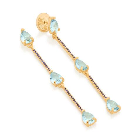 526487 brinco composto por 3 cristais gota azul intercalados por palitos cravejados marca rommanel loja revendedora brilho folheados 2