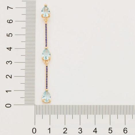 526487 brinco composto por 3 cristais gota azul intercalados por palitos cravejados marca rommanel loja revendedora brilho folheados 4