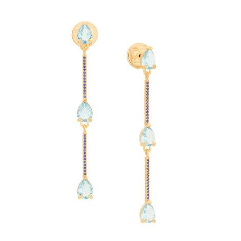 526487 brinco composto por 3 cristais gota azul intercalados por palitos cravejados marca rommanel loja revendedora brilho folheados