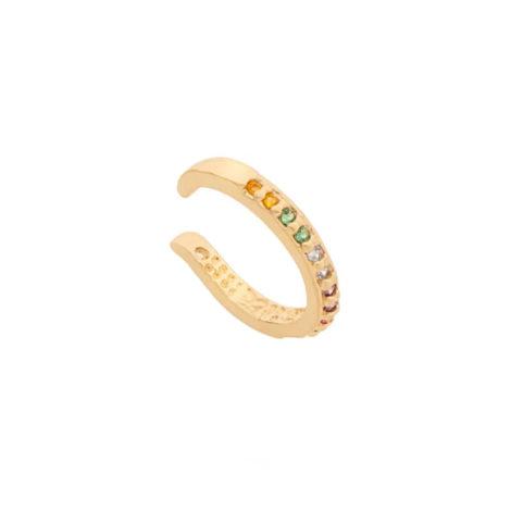 526517 brinco piercing ajustavel com zirconias coloridas colecao para elas rommanel loja brilho folheados