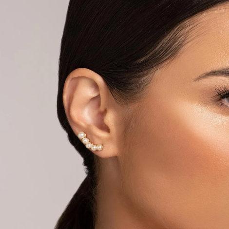 526525 brinco ear cuff 5 pérolas dourado marca rommanel loja revendedora brilho folheados foto modelo 1