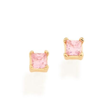 526542 brinco dourado zirconia quadrada rosa claro colecao para elas rommanel loja brilho folheados 1