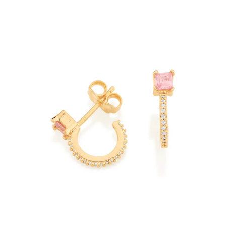 526543 brinco meia argola dourado zirconia rosa claro zirconias brancas colecao para elas rommanel loja brilho folheados