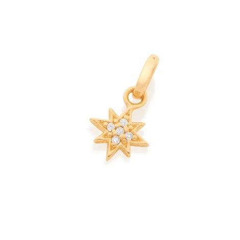 542278 pingente dourado estrela 8 pontas zirconia colecao para elas rommanel loja brilho folheados