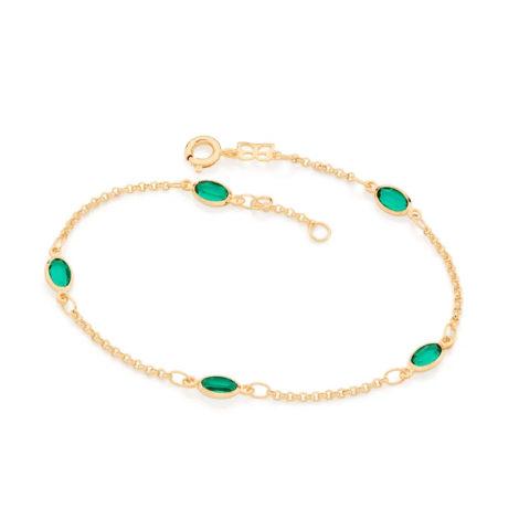 551669 pulseira elos portugueses ovais verdes colecao fe na vida rommanel loja revendedora brilho folheados
