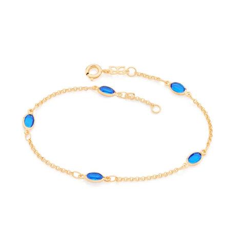 551669 pulseira formada por fio elo português composta por 5 cristais ovais marca rommanel loja revendedora brilho folheados