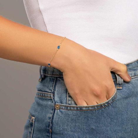 551669 pulseira formada por fio elo português composta por 5 cristais ovais marca rommanel loja revendedora brilho folheados foto modelo