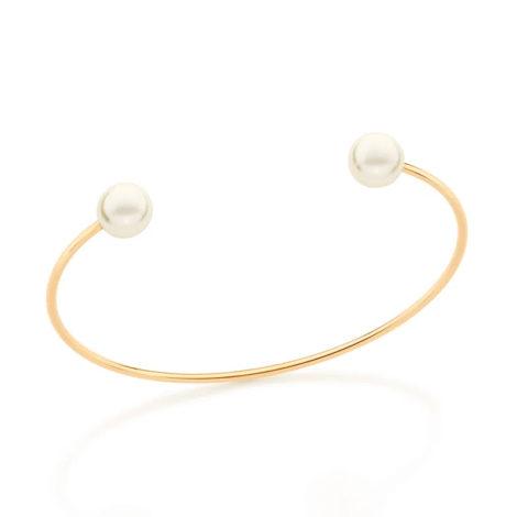 551670 bracelete 6 cm de diâmetro contendo 2 pérolas sintéticas marca rommanel loja revendedora brilho folheados