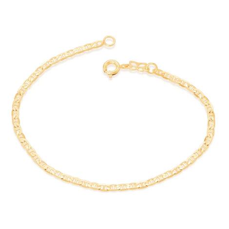 Imagem de fundo branco, contendo uma pulseira dourada de elos finos e diamantados com pino no centro. Pulseira da marca Rommanel, banhada a ouro 18k. Pulseira vendida pela loja online Brilho Folheados. SKU da pulseira 550428.