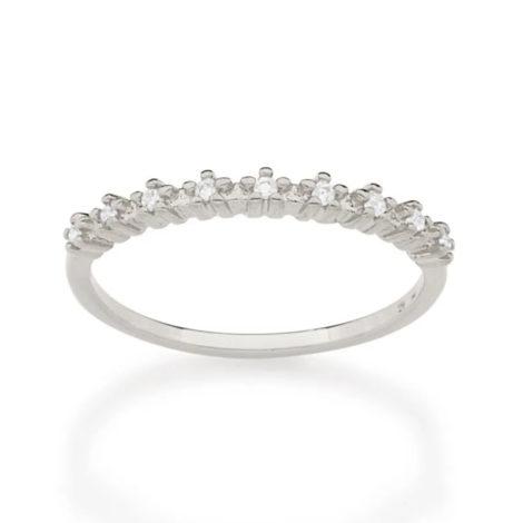 110848 anel meia alianca com flores de zirconias prateado colecao cores da vida marca rommanel loja revendedora brilho folheados