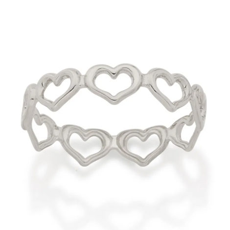 110851 anel todo rodeado de coracoes vazados prateado dia dos namorados marca rommanel loja revendedora brilho folheados 1