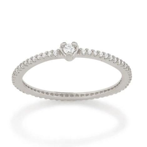 110853 anel solitario coracao com zirconias prateado colecao cores da vida marca rommanel loja revendedora brilho folheados