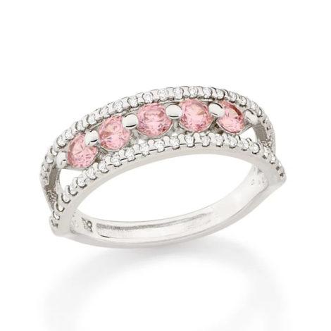 110854 anel aro duplo cravejado de zirconias com 5 zirconias rosa no centro prateado colecao cores da vida marca rommanel loja revendedora brilho folheados 1
