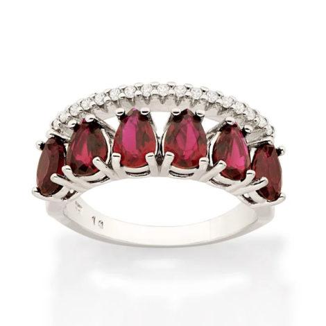 110859 anel aro duplo aro com zirconias e aro com 6 cristais gotas vermelhas colecao cores da vida marca rommanel loja revendedora brilho folheados