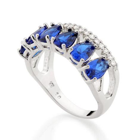 110860 anel aro duplo aro com zirconias e aro com 6 cristais gotas azuis colecao cores da vida marca rommanel loja revendedora brilho folheados 2