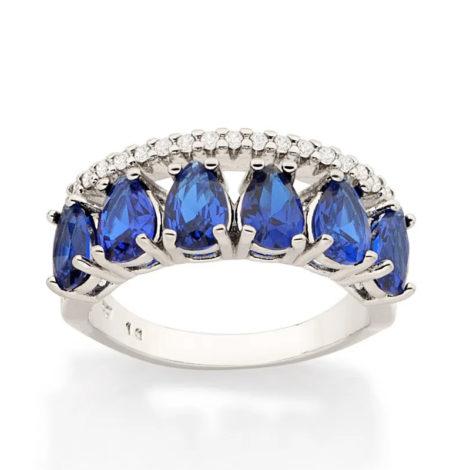 110860 anel aro duplo aro com zirconias e aro com 6 cristais gotas azuis colecao cores da vida marca rommanel loja revendedora brilho folheados