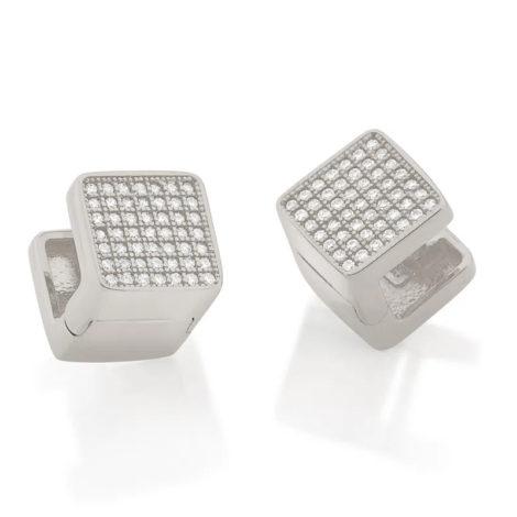 121790 brinco argola quadrada com zirconias prateado colecao cores da vida marca rommanel loja revendedora brilho folheados