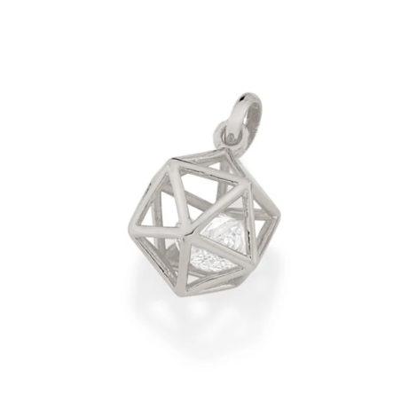 140823 pingente formato geometrico icosaedro 2 zirconias brancas brilhantes colecao cores da vida rommanel loja brilho folheados