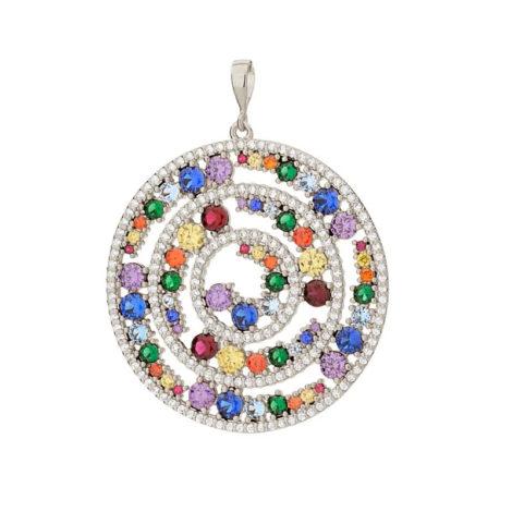 140824 pingente mandala roda da vida com zirconias coloridas colecao cores da vida marca rommanel loja revendedora brilho folheados