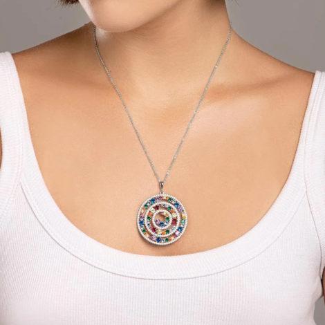 140824 pingente mandala roda da vida com zirconias coloridas colecao cores da vida marca rommanel loja revendedora brilho folheados foto modelo