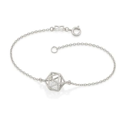 150336 pulseira prateada elos delicados pingente geometrico vazado com 2 zirconias brilhantes colecao cores da vida rommanel loja brilho folheados 3