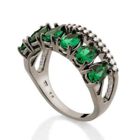 410044 anel aro duplo aro com zirconias e aro com 6 cristais gotas verdes colecao cores da vida marca rommanel loja revendedora brilho folheados 2