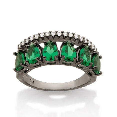 410044 anel aro duplo aro com zirconias e aro com 6 cristais gotas verdes colecao cores da vida marca rommanel loja revendedora brilho folheados