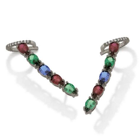 420059 brinco ear cuff com zirconias gotas coloridas colecao cores da vida marca rommanel loja revendedora brilho folheados