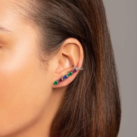 420059 brinco ear cuff com zirconias gotas coloridas colecao cores da vida marca rommanel loja revendedora brilho folheados foto modelo