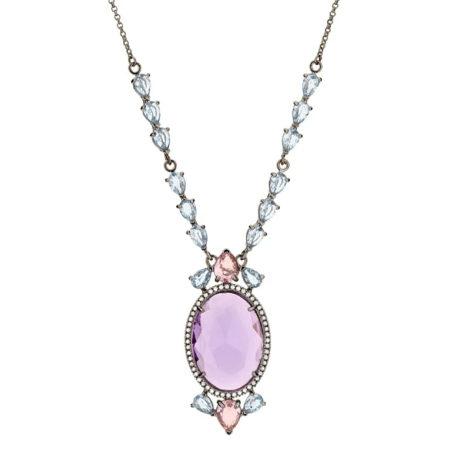 430045 gargantilha cristais gotas rosa e azuis com cristal lilas oval grande no centro colecao cores da vida marca rommanel loja revendedora brilho folheados