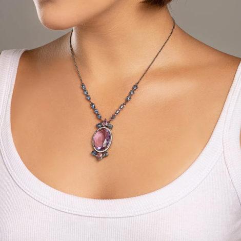 430045 gargantilha cristais gotas rosa e azuis com cristal lilas oval grande no centro colecao cores da vida marca rommanel loja revendedora brilho folheados foto modelo