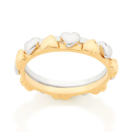 512827 anel coracoes aro duplo dourado e prateado colecao dia dos namorados marca rommanel loja revendedora brilho folheados 1