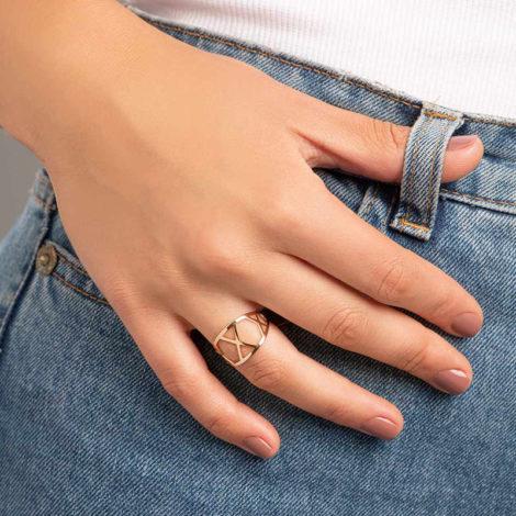 512861 anel detalhes geometricos vazados colecao cores da vida marca rommanel loja revendedora brilho folheados foto modelo