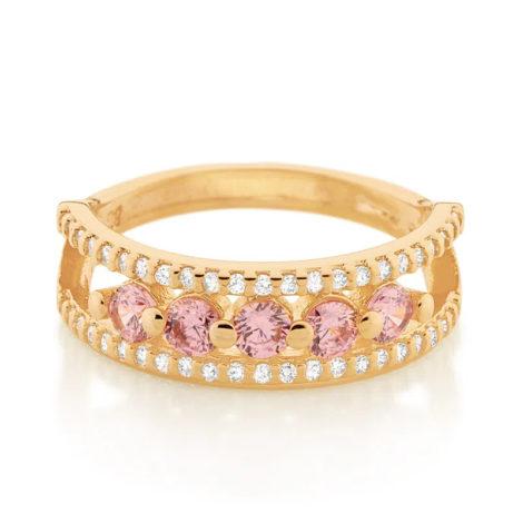 512869 anel aro duplo cravejado de zirconias com 5 zirconias rosa no centro colecao cores da vida marca rommanel loja revendedora brilho folheados 2