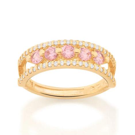512869 anel aro duplo cravejado de zirconias com 5 zirconias rosa no centro colecao cores da vida marca rommanel loja revendedora brilho folheados