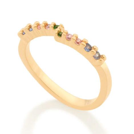 512871 anel meia alianca ondulado com zirconias coloridas colecao cores da vida marca rommanel loja revendedora brilho folheados 2