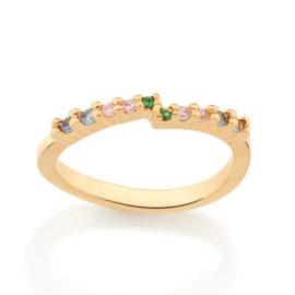 512871 anel meia alianca ondulado com zirconias coloridas colecao cores da vida marca rommanel loja revendedora brilho folheados